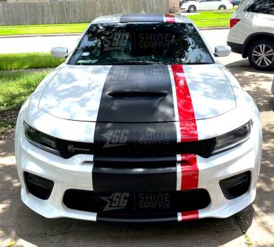 Dodge charge viper stripes Black and red Front view Hood