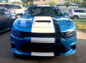 Dodge charger viper style stripe wide srt hellcat scat pack front