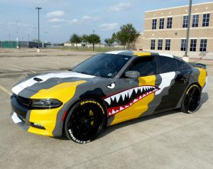 dodge charger camouflege wrap driver side