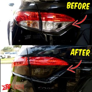 2020 Corolla Sedan Taillight Tint OVERLAYS clear area Before and After