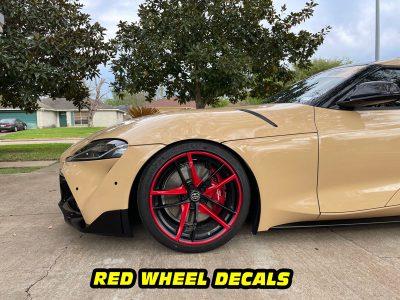 Mk5 Supra a90 side red wheel decals mods