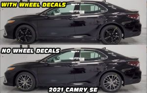 2021 Camry SE with black wheel decals