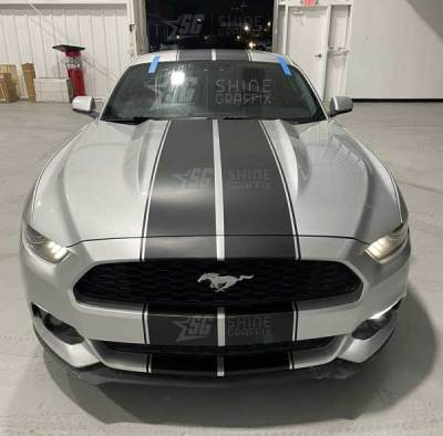 """Mustang Rally 10"""" Racing Stripes front matte black"""