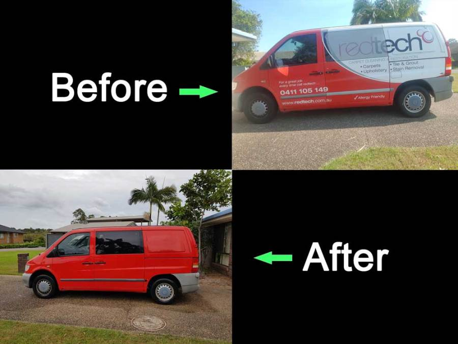 A van has had decal sticker removal and a cut and polish