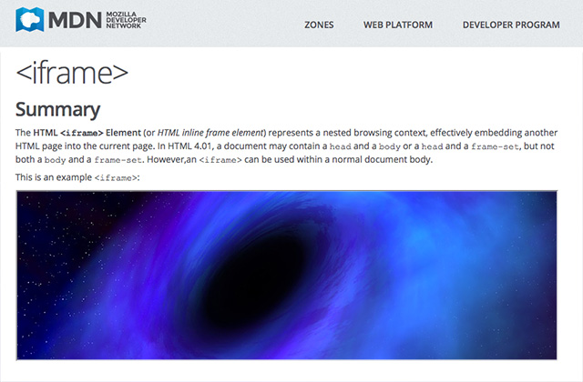 A screenshot of a page containing an iFrame element that's filled with a black hole