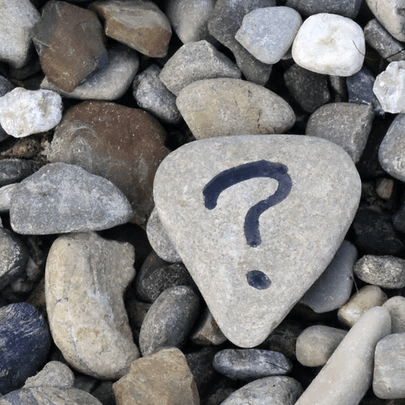 question mark on the rocks