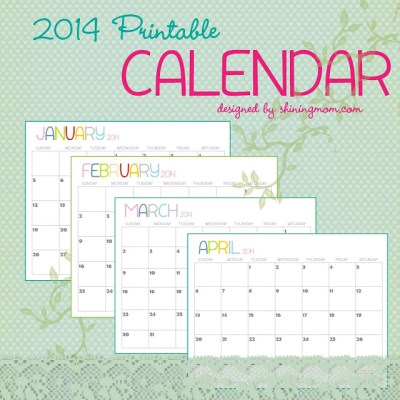The Free Printable 2014 Calendar by Shining Mom.com is here!