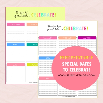 Printable: Charts for Special Dates to Celebrate!