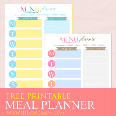 Freebie Monday: Weekly Meal Planner