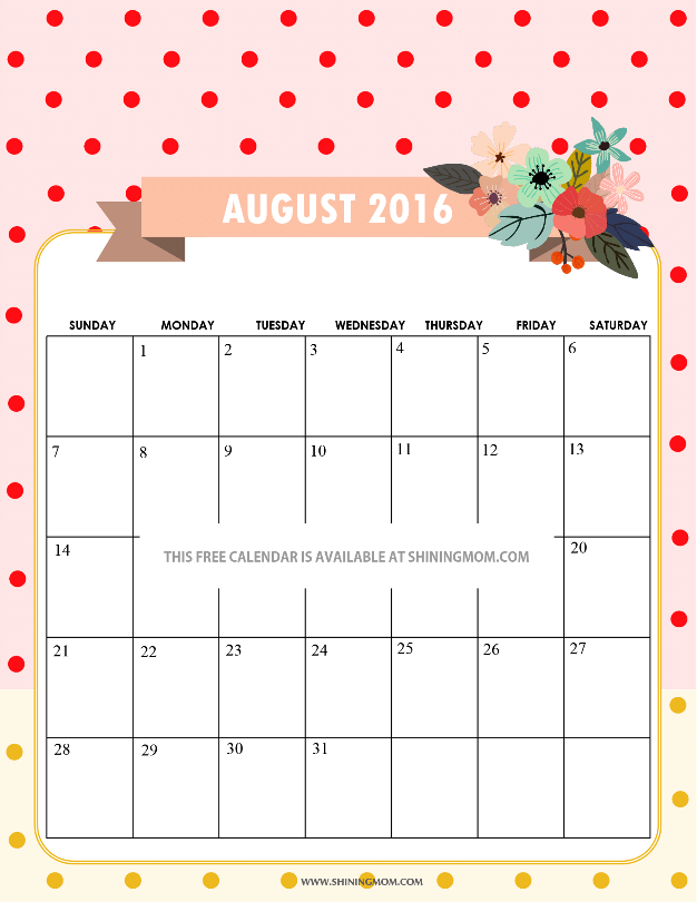 Pretty Printable Calendars for August 2016