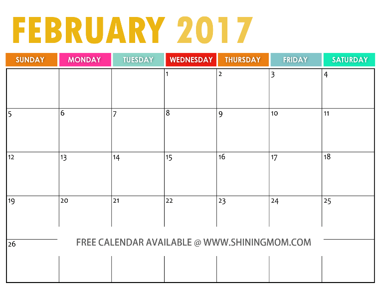 2017 calendar free printable