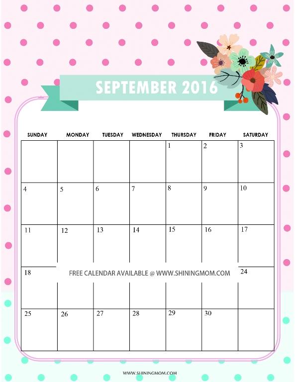 All lovely free september 2016 calendars free printable september 2016 calendar pronofoot35fo Images
