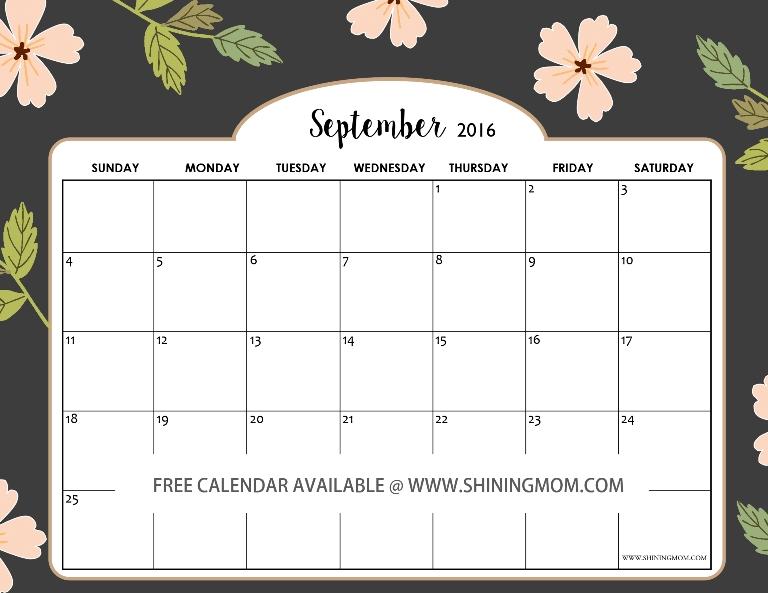 All Lovely: Free September 2016 Calendars!