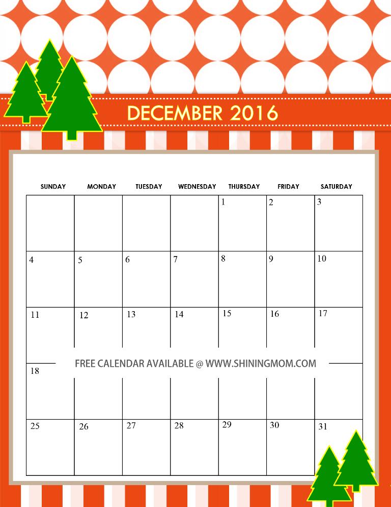 December Calendar 2016 Printable Pdf : Free december calendars christmas themed designs