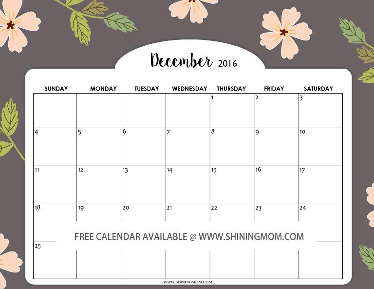Free December 2016 Calendars: Christmas Themed Designs!