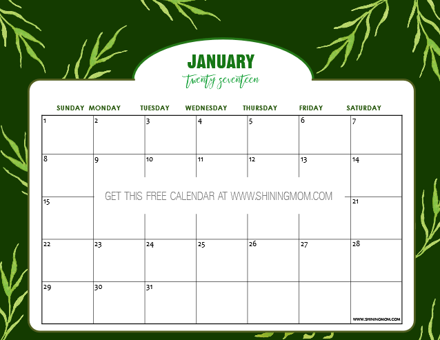 Free Printable January 2017 Calendar Set