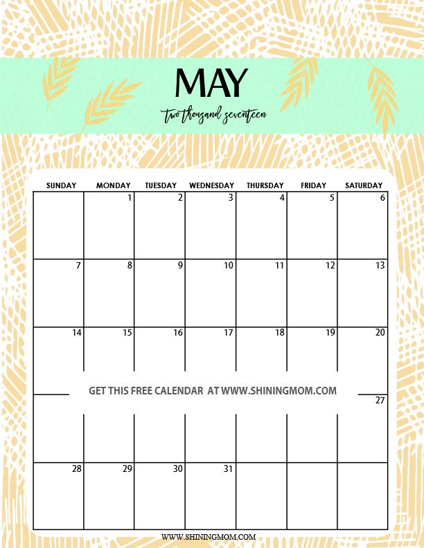 May Calendar Cute : Fun and cute calendar printable