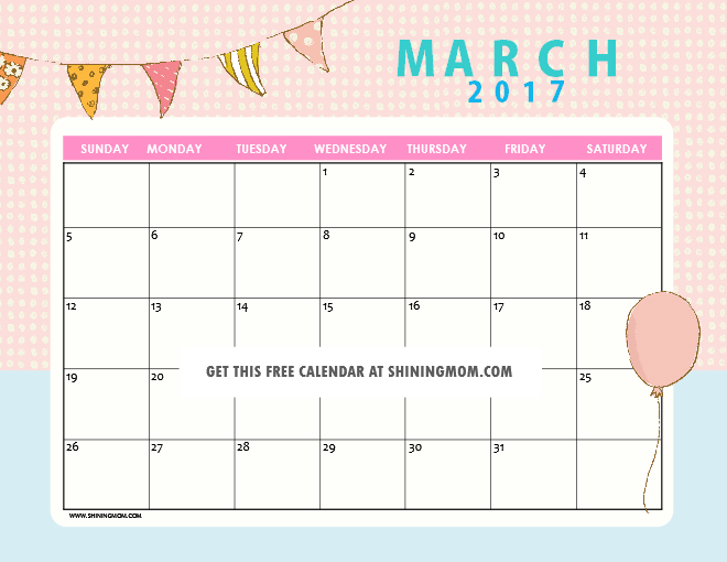 Cute March Calendar 2017 | My Blog