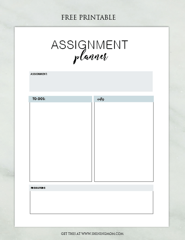 assignment planner printable