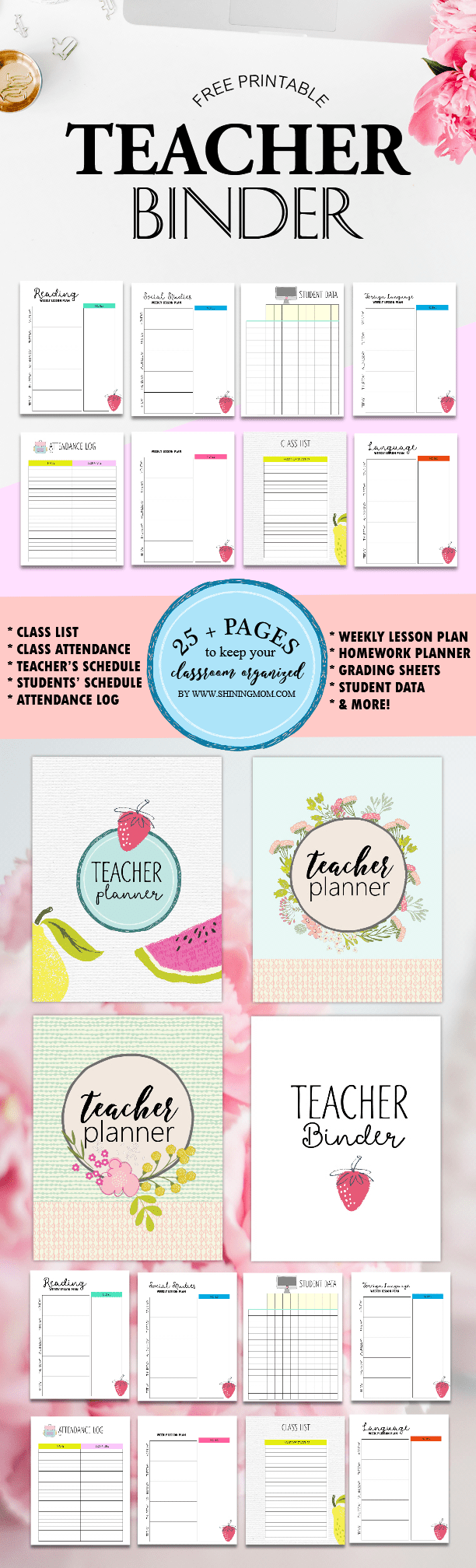 Classroom Ideas Printables ~ Free teacher binder printables over pretty planning