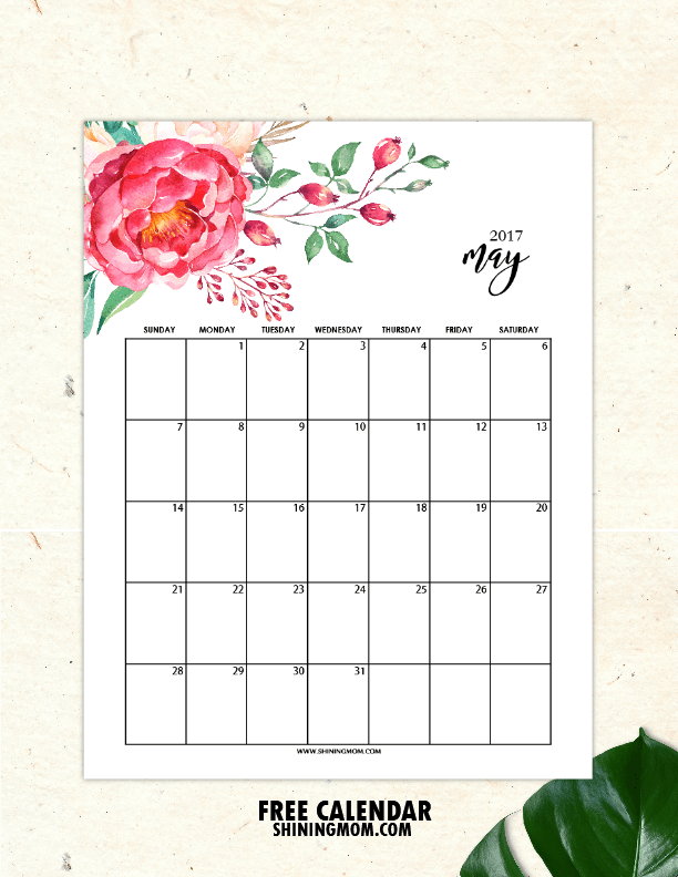 Free Printable May 2017 Calendars 12 Awesome Designs – Free Office Calendar