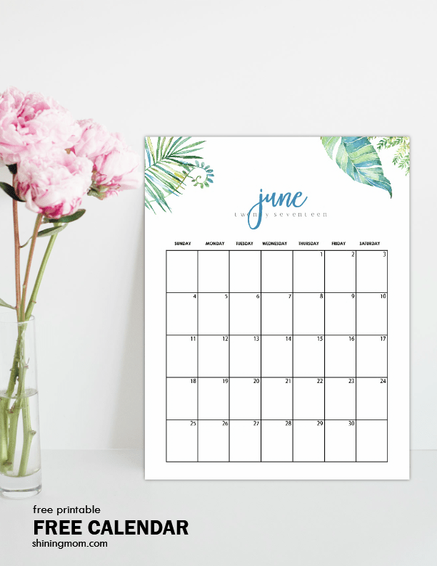 FREE Printable June 2017 Calendar: 12 Awesome Designs!