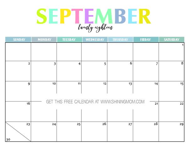 Free Printable 2018 Calendar Pretty and Colorful – Free Calendar Printable