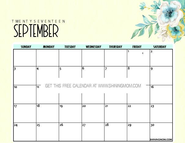 september calendar printable