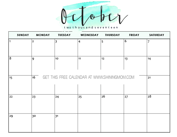 Free printable october 2017 calendar 12 awesome designs for Calendar template that you can type in