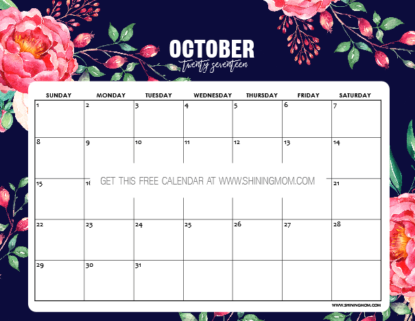 September October Calendar 2017 Monthly …