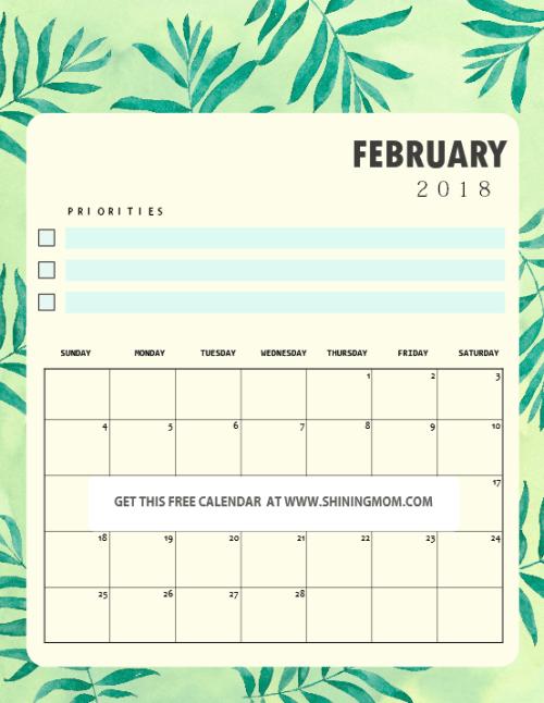 February 2018 Calendar Kids : Free printable february calendar amazing designs