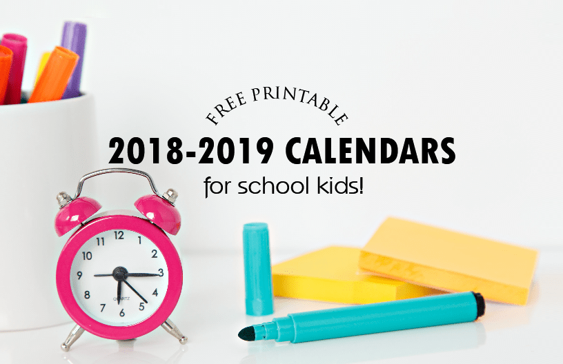 free 2018 school calendar for every student