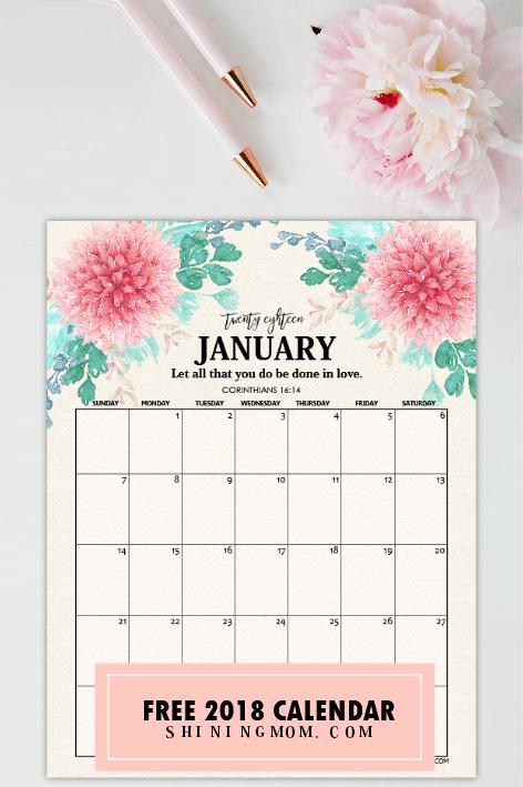 free jan calendar 2018
