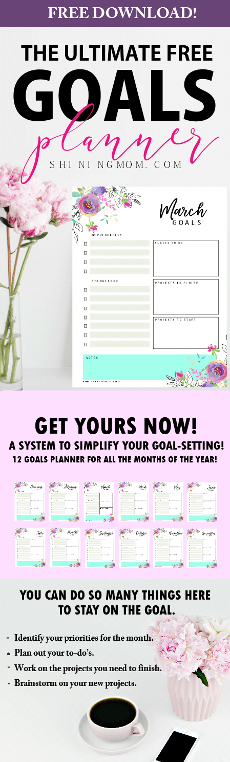 monthly goal setting template planner