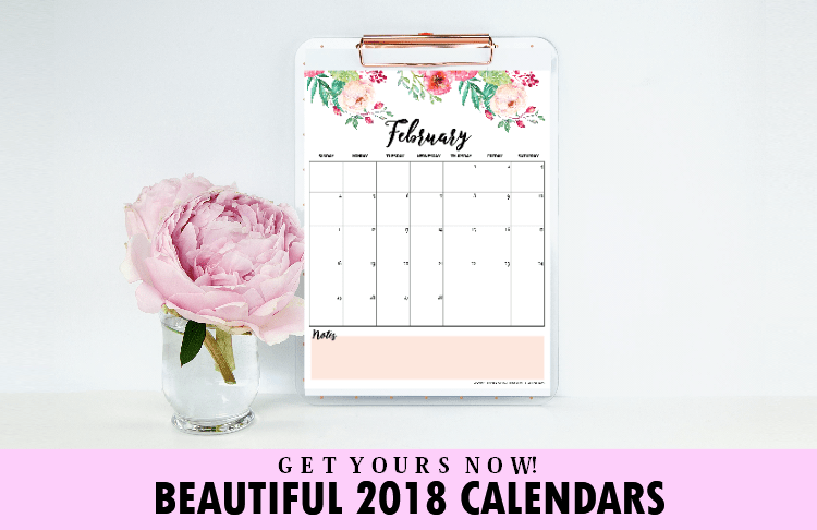 Free Beautiful Printable Calendar for 2018!