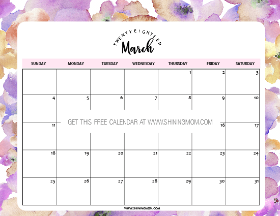 Free Printable March 2018 Calendar: 12 Awesome Designs
