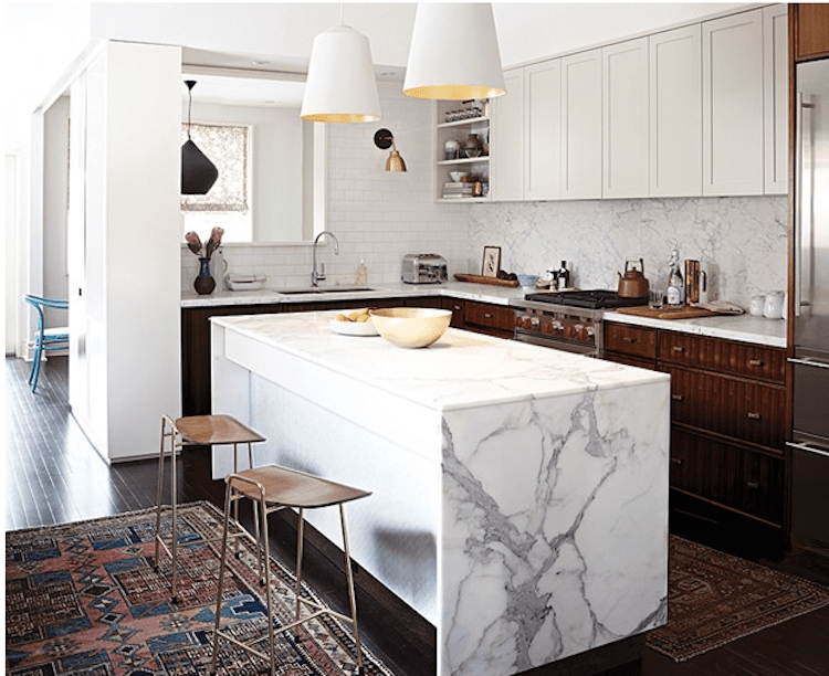 kitchen island counter cabinets lexington ky waterfall inspiration marble