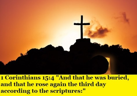 "1 Corinthians 15:4 ""And that he was buried, and that he rose again the third day according to the scriptures:"""