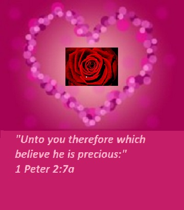 "1 Peter 2:7a ""Unto you therefore which believe he is precious:"""