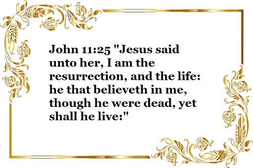 "John 11:25 ""Jesus said unto her, I am the resurrection, and the life: he that believeth in me, though he were dead, yet shall he live:"""