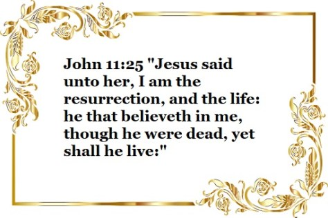 """John 11:25 """"Jesus said unto her, I am the resurrection, and the life: he that believeth in me, though he were dead, yet shall he live:"""""""
