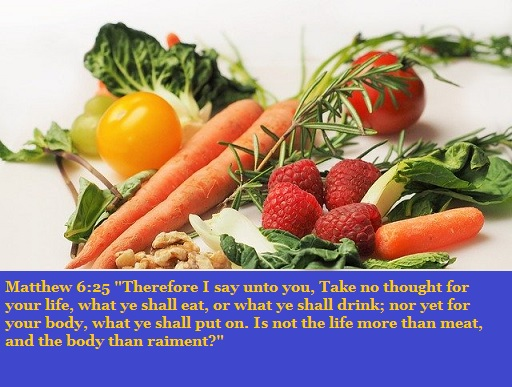 """Matthew 6:25 """"Therefore I say unto you, Take no thought for your life, what ye shall eat, or what ye shall drink; nor yet for your body, what ye shall put on. Is not the life more than meat, and the body than raiment?"""""""