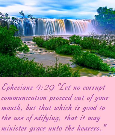 "Ephesians 4:29 ""Let no corrupt communication proceed out of your mouth, but that which is good to the use of edifying, that it may minister grace unto the hearers."""