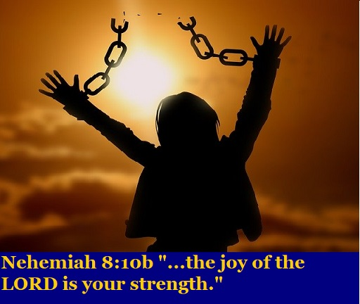 "Nehemiah 8:10b ""...the joy of the LORD is your strength."""