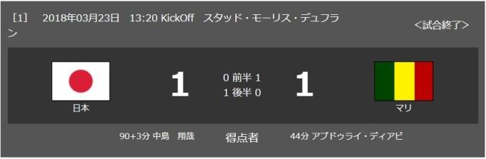 2018/3/23(金) マリ戦 試合結果