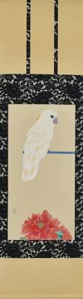 「瑠璃目太白鸚鵡」 軸装 画寸69×34㎝ 和紙、水干、岩絵具