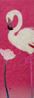 「あなたとわたし」 51.4×18.2㎝ 白麻紙、水干、岩絵具
