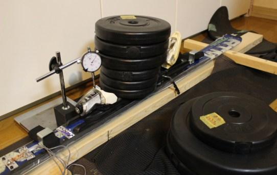 【STA】スキーのたわみとBendGaugeを測定した<25kg荷重でR=7mでる>
