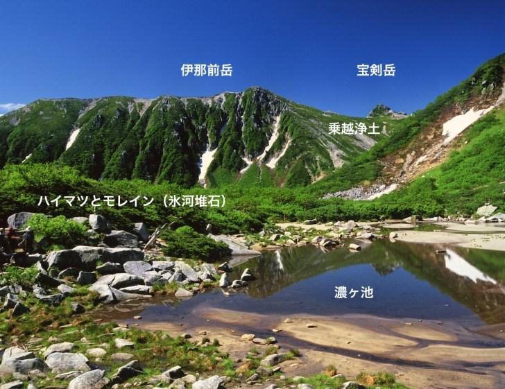 濃ヶ池から眺めた宝剣岳。乗越浄土の向こう側が千畳敷カール
