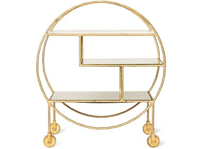 Luxe Round Bamboo Drinks Trolley